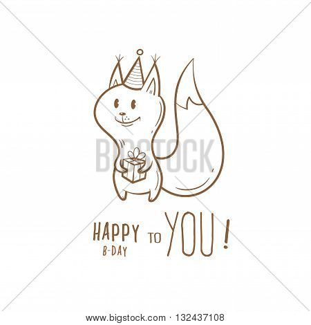 Birthday card with cute cartoon squirrel  in party hat. Little funny animal. Children's illustration. Vector contour  image. Transparent background.