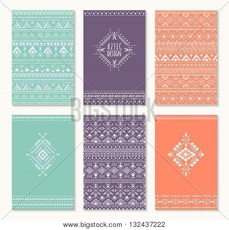 Set of cards ethnic design. Stylish tribal geometric backgrounds. Templates for invitations, notepads with aztec ornaments. Vector illustration.