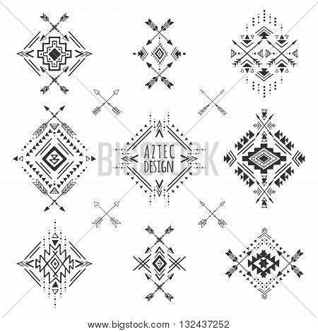 Aztec elements. Tribal geometric symbols for logo cards, decorative works. Set of ethnic hand drawn ornaments. Vector illustration.