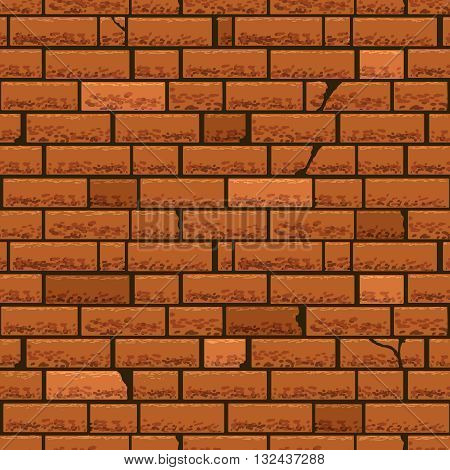 Red brick wall vector seamless background. Block brick wall, pattern brick wall seamless, structure brown brick wall construction brick wall stone illustration