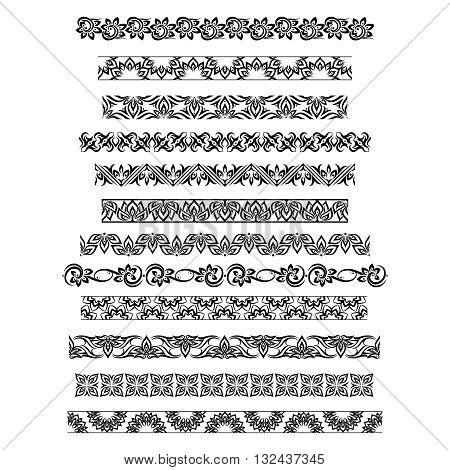Thai ornament border patterns with vector thai floral motifs. Thai design border, pattern border thai, ornament thai border illustration