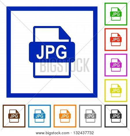 Set of color square framed JPG file format flat icons