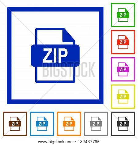 Set of color square framed ZIP file format flat icons