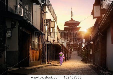 Yasaka Pagoda and Sannen Zaka Street in the Morning Kyoto Japan