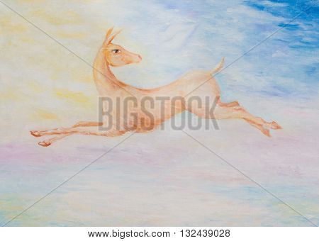 Oil painting on canvas. Running deer on an abstract background