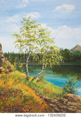 Autumn birches by the lake . Oil painting on canvas.