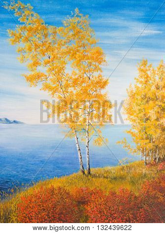 Yellow birch on the shore. Oil painting on canvas
