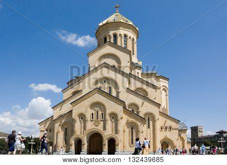 TBILISI, GEORGIA -August 7:The Holy Trinity Cathedral of Tbilisi. August 7, 2013. This is the main Cathedral of the Georgian Orthodox Church located in Tbilisi, the capital of Georgia