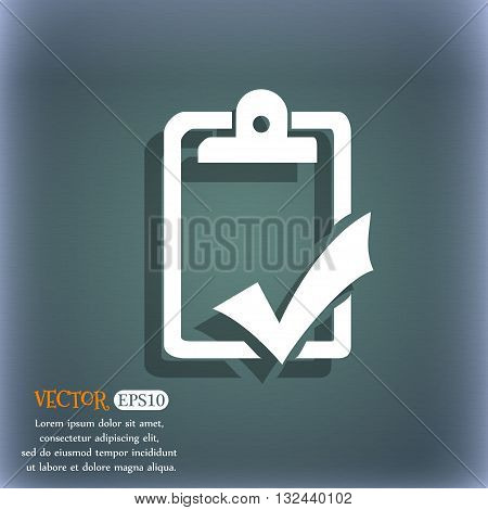 Document Grammar Control, Test, Work Complete Icon. On The Blue-green Abstract Background With Shado