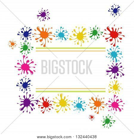 vector frame of colored blobs of ink splashes