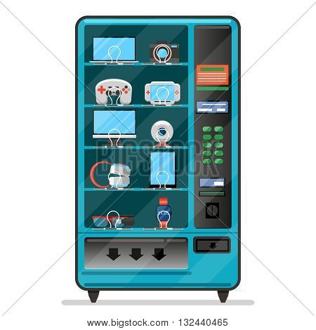 Vector vending machine with electronic devices, gadgets. Machine vending, service automatic vending, merchandise vending machine illustration