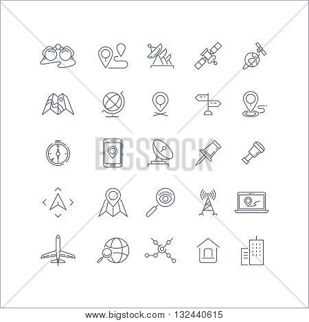 Geolocation, global positioning system and navigation line vector icons set. Global navigation icon, gps navigation, travel navigation pin, technology navigation illustration