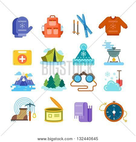 Winter hiking flat icons set. Hiking winter, winter tourism hiking, travel winter hiking. Vector illustration