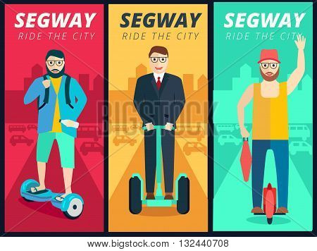 Set of segway scooters and people riding on city background for banner poster or flyer design