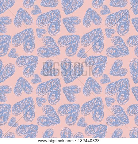 Seamless pattern lilac hearts with rough edges on pink background. Hand painted vector illustration. Design for fabric, textile, wrapping paper, card, invitation, wallpaper, web design.