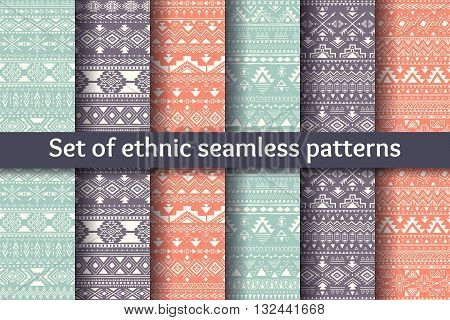 Set of six ethnic seamless patterns. Aztec geometric backgrounds. Stylish navajo design. Modern handmade abstract prints. Vector illustration.
