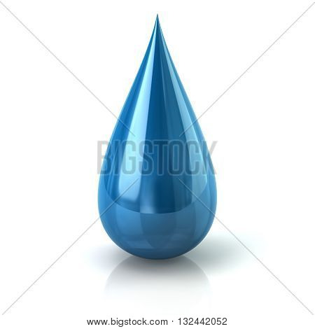 3D Illustration Of Blue Paint Ink Drop Icon