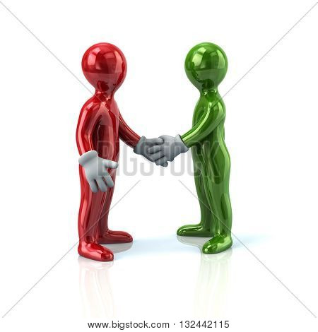 3d illustration of red and green business men handshake isolated on white background