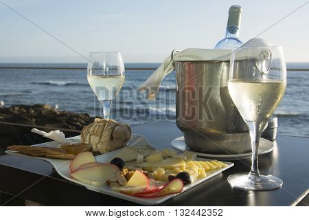 Wine and Cheese by the Atlantic Ocean