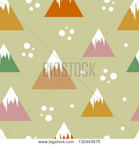 Retro style vector seamless pattern with mountains and snowballs. Seamless pattern can be used for textile, wallpapers, child clothing and bed lining, web backgrounds and surface textures.