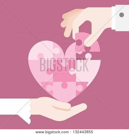 bride and grooming Hands holding heart jigsaw puzzle, vector design for wedding invitation card, romantic and love concept, flat design