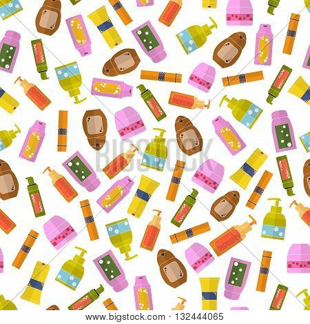 Cosmetics seamless pattern. Bright women's fashion background. Natural cosmetics. Flat style. Design for a cosmetics store or Spa. Vector illustration.