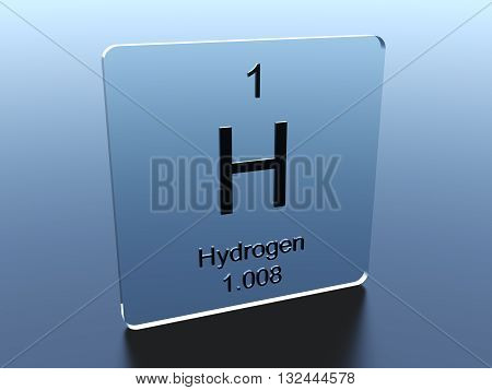 Hydrogen symbol on a glass square 3D rendering