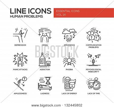 Set of modern vector simple line design icons and pictograms of common human psychological problems. Crisis, impatience, depression, panic attacs, insecurity, phobia, addictions, aimlessness, laziness, energy, time lack