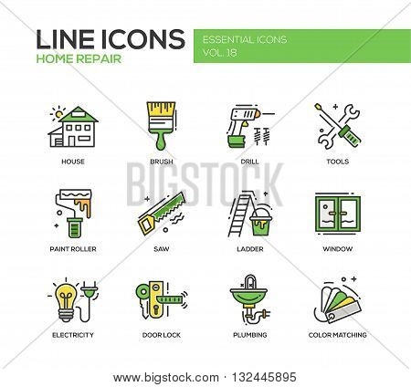 Set of modern vector line design icons and pictograms of home repair process and tools. Brush, drill, saw, paint roller, ladder, window, door lock, electrcity, plumbing, color matching