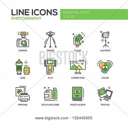 Set of modern vector line design icons and pictograms of photography tools and equipment. Camera, lightbox, tripod, flash, lens, film, color, correction, photos, printing