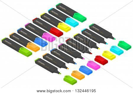 A set of markers of different colors in an isometric view. Multi-colored highlighters. Stationery for pupils and students. Markers to highlight important. Vector illustration.