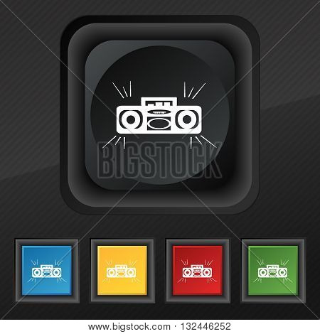 Radio Cassette Player Icon Symbol. Set Of Five Colorful, Stylish Buttons On Black Texture For Your D