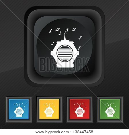 Old Analog Radio Icon Symbol. Set Of Five Colorful, Stylish Buttons On Black Texture For Your Design