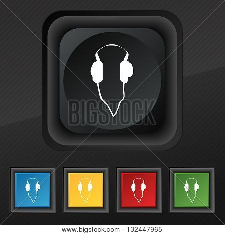 Headphones Icon Symbol. Set Of Five Colorful, Stylish Buttons On Black Texture For Your Design. Vect
