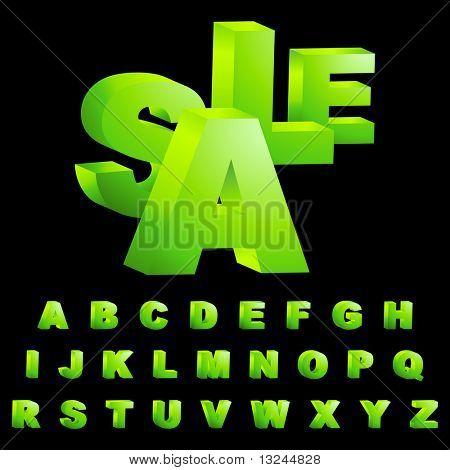 Green 3d alphabet. Vector set.
