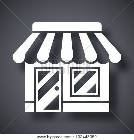 Vector Store or Shop icon. Shop or Store simple icon on a dark gray background