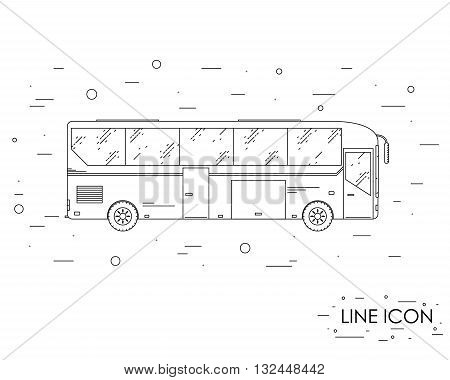 Tourist bus. Linear style. Icon tourism bus. The journey by bus. Side view. Public transport. Vector illustration.