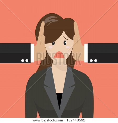 Business woman was covered ears by other man. Business concept