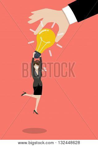 Hand stealing idea light bulb from business woman. Idea concept
