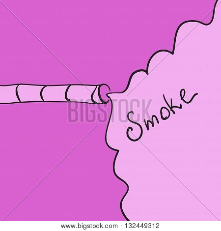 vector of abstract hand-drawn smoking, cigarette and copyspace in pink color