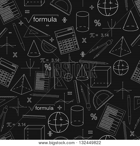 Math seamless black pattern. Linear style. Knowledge of math and geometry. The geometric shapes. The abacus and the calculator. The pen and pencil. Concept of knowledge. Vector illustration.