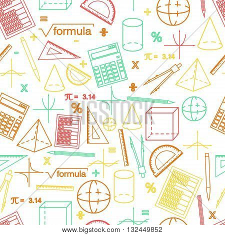 Math seamless white pattern. Linear style. Knowledge of math and geometry. The geometric shapes. The abacus and the calculator. The pen and pencil. Concept of knowledge. Vector illustration.