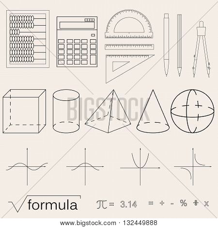 Set of math icons. Linear style. Knowledge of math and geometry. The geometric shapes. The abacus and the calculator. The pen and pencil. Concept of knowledge. Vector illustration.