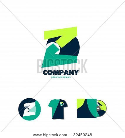Vector company logo icon element template abstract pastel colors letter z alphabet