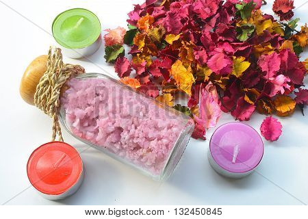 close up candle and colorful,various scents of potpourri