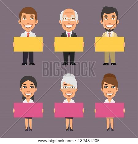 Vector Illustration, Businessman and Businesswoman Holding Empty Poster, format EPS 8