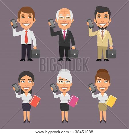 Vector Illustration, Businessman and Businesswoman Holding Mobile Phone, format EPS 8