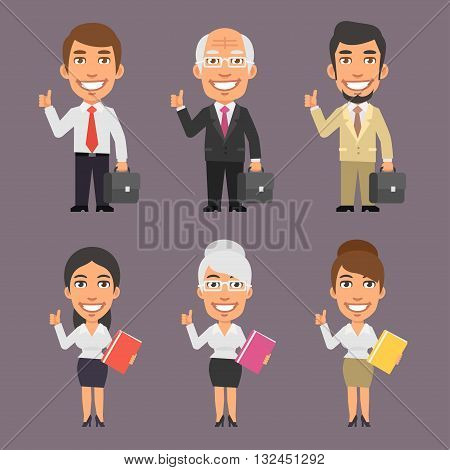 Vector Illustration, Businessman and Businesswoman Showing Thumbs Up, format EPS 8