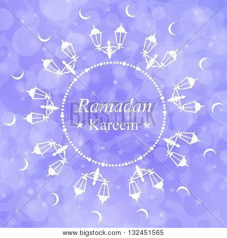 Ramadan Kareem festive background. Traditional Ramadan lantern. Purple greeting card. The Muslim holiday. Arabic lamp and Crescent moon. The Holy month of Ramadan. Vector illustration.