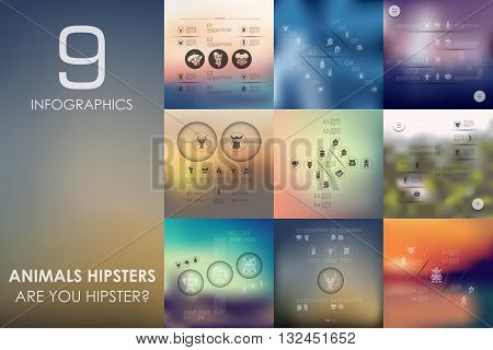 animals hipsters vector infographics with unfocused blurred background